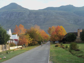 Greyton in the autumn. Cycling is a common mode of transport for young and old alike.